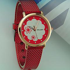preiswerte Damenuhren-Damen Armbanduhr Armbanduhren für den Alltag Plastic Band Blume / Modisch Schwarz / Weiß / Rot