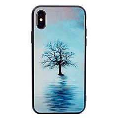 Недорогие Кейсы для iPhone 5-Кейс для Назначение Apple iPhone X / iPhone 8 С узором Кейс на заднюю панель дерево Твердый Закаленное стекло для iPhone X / iPhone 8