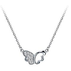preiswerte Halsketten-Damen Anhängerketten - 18K vergoldet, S925 Sterling Silber Schmetterling Zierlich, Einfach, Modisch Silber 40 cm Modische Halsketten Schmuck Für Alltag, Festival