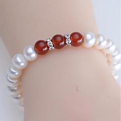 preiswerte Armbänder-Damen Onyx Süßwasserperle Strang-Armbänder - Perle, Süßwasserperle Kugel Natur, Modisch Armbänder Grün / Dunkelrot Für Alltag Party
