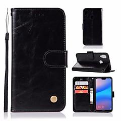 お買い得  Huawei Pシリーズケース/ カバー-ケース 用途 Huawei P20 lite ウォレット / カードホルダー / スタンド付き フルボディーケース ソリッド ハード PUレザー のために Huawei P20 lite