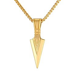 Недорогие Ожерелья-Муж. Ожерелья с подвесками  -  Мода В форме свечи Золотой Черный Серебряный 55cm Ожерелье Назначение Повседневные