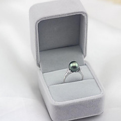 お買い得  指輪-女性用 淡水パール オープンリング  -  黒真珠, S925スターリングシルバー, 淡水パール シンプル, ファッション, エレガント 調整可 ホワイト / ブラック 用途 パーティー 贈り物