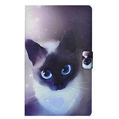 Недорогие Чехлы и кейсы для Galaxy Tab 3 Lite-Кейс для Назначение SSamsung Galaxy Tab 3 Lite Бумажник для карт / Защита от удара / со стендом Кейс на заднюю панель Кот Твердый Кожа PU для Tab 3 Lite