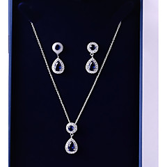 cheap Jewelry Sets-Women's Cubic Zirconia Jewelry Set - Drop Fashion, Elegant Include Drop Earrings / Pendant Necklace Dark Blue For Wedding / Evening Party