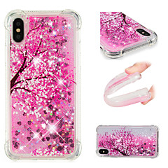Недорогие Кейсы для iPhone 5-Кейс для Назначение Apple iPhone X / iPhone 8 Plus Защита от удара / Движущаяся жидкость / С узором Кейс на заднюю панель Цветы / Сияние
