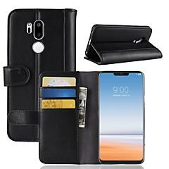 Недорогие Чехлы и кейсы для LG-Кейс для Назначение LG LG V20 MINI / G7 Кошелек / Бумажник для карт / Флип Чехол Однотонный Твердый Настоящая кожа для LG V30 / LG V20 MINI / LG Q6
