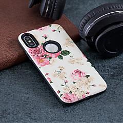 Недорогие Кейсы для iPhone 7-Кейс для Назначение Apple iPhone X / iPhone 8 Защита от удара / Рельефный / С узором Кейс на заднюю панель Цветы Твердый ПК для iPhone X