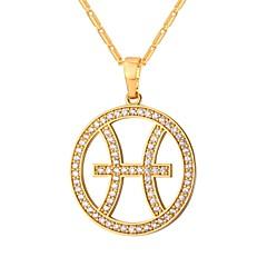Недорогие Ожерелья-Муж. Жен. Ожерелья с подвесками  -  Мода Круглый Золотой Серебряный 55cm Ожерелье Назначение Повседневные