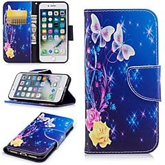 Недорогие Кейсы для iPhone-Кейс для Назначение Apple iPhone 6 / iPhone 7 Бумажник для карт / Кошелек / со стендом Чехол Бабочка Твердый Кожа PU для iPhone 8 /