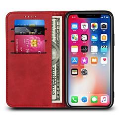 Недорогие Кейсы для iPhone X-Кейс для Назначение Apple iPhone X iPhone 8 Plus Бумажник для карт Кошелек Флип Чехол Однотонный Твердый Кожа PU для iPhone X iPhone 8