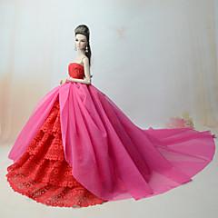 abordables Ropa para Barbies-Vestidos Vestir por Muñeca Barbie  Fucsia Poliéster / Algodón / Tela de Encaje Vestido por Chica de muñeca de juguete