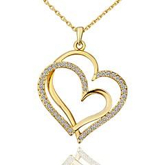 preiswerte Halsketten-Damen Kubikzirkonia Anhängerketten  -  vergoldet Herz Modisch Gold, Weiß, Rotgold 45+5 cm Modische Halsketten 1pc Für Geschenk, Alltag
