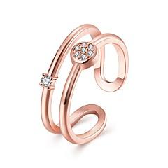 preiswerte Ringe-Damen Kubikzirkonia Bandring - vergoldet Modisch Verstellbar Gold / Rotgold Für Alltag / Party