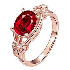 preiswerte Ringe-Damen Kubikzirkonia Bandring - vergoldet Modisch 7 / 8 Gold / Weiß / Rotgold Für Alltag / Party