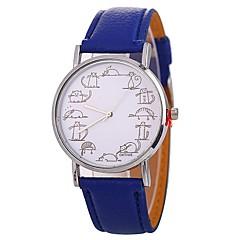 preiswerte Damenuhren-Xu™ Damen Armbanduhr Chinesisch Kreativ / Großes Ziffernblatt / Komisch PU Band Modisch / Minimalistisch Schwarz / Weiß / Blau