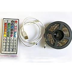 preiswerte LED Lichtstreifen-2m Flexible LED-Leuchtstreifen / Leuchtbänder RGB / Fernbedienungen 60 LEDs SMD5050 1 44Tastenfernbedienung RGB + Weiß Schneidbar / USB / Wasserfest 5 V 1set / IP65 / Selbstklebend