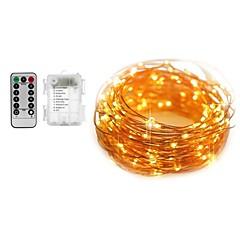 お買い得  LED ストリングライト-5m ライトセット / ストリングライト 50 LED SMD 0603 1 13キーリモコン 温白色 / ホワイト 新デザイン / 防水 / 装飾用 バッテリー駆動 1セット