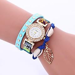お買い得  レディース腕時計-女性用 ブレスレットウォッチ 中国 カジュアルウォッチ / かわいい / 模造ダイヤモンド PU バンド 葉っぱ / ボヘミアンスタイル ブラック / 白 / ブルー