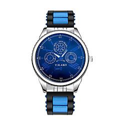 お買い得  メンズ腕時計-男性用 リストウォッチ 中国 カジュアルウォッチ シリコーン バンド ファッション ブラック / ブルー / シルバー