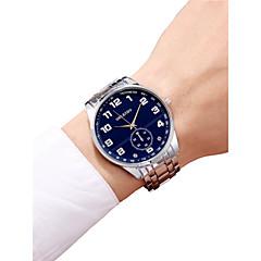 preiswerte Herrenuhren-Herrn Armbanduhr Chinesisch Chronograph / Armbanduhren für den Alltag / Großes Ziffernblatt Edelstahl Band Armreif / Minimalistisch Silber