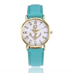 preiswerte Damenuhren-Damen Armbanduhr Anker / Armbanduhren für den Alltag Leder Band Modisch Schwarz / Weiß / Blau