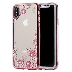 Недорогие Кейсы для iPhone 6 Plus-Кейс для Назначение Apple iPhone X / iPhone 8 Стразы / Покрытие Кейс на заднюю панель Цветы Мягкий ТПУ для iPhone X / iPhone 8 Pluss / iPhone 8