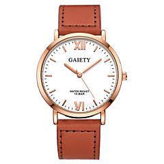 preiswerte Damenuhren-Herrn / Damen Armbanduhr Chinesisch Chronograph / Armbanduhren für den Alltag Leder Band Armreif / Mehrfarbig Schwarz / Orange / Braun