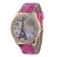 preiswerte Damenuhren-Damen Armbanduhr Chinesisch Armbanduhren für den Alltag PU Band Eiffelturm / Modisch Schwarz / Weiß / Blau