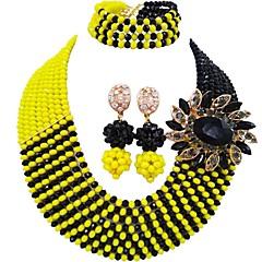 hesapli Takı Setleri-Kadın's Katmanlı Takı Seti - Avusturya Kristali MOON Bayan, Moda Dahil etmek Iplikçik kolye Koyu Mavi / Sarı / Kırmzı Uyumluluk Düğün Parti