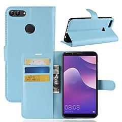 Недорогие Чехлы и кейсы для Huawei серии Y-Кейс для Назначение Huawei Y9 (2018)(Enjoy 8 Plus) / Y7 Prime (2018) Кошелек / Бумажник для карт / Флип Чехол Однотонный Твердый Кожа PU для Y9 (2018)(Enjoy 8 Plus) / Huawei Y7 Prime(Enjoy 7 Plus
