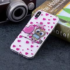 Недорогие Кейсы для iPhone 7 Plus-Кейс для Назначение Apple iPhone X / iPhone 8 Plus IMD / С узором Кейс на заднюю панель С сердцем / Сова Мягкий ТПУ для iPhone X / iPhone 8 Pluss / iPhone 8