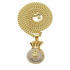 Недорогие Ожерелья-Муж. Цирконий Стильные Заявление ожерелья / длинное ожерелье - Стразы, нержавеющий долларов Стиль, модный, Камни Cool Золотой 6.5*3.2+0.5*70 cm Ожерелье Бижутерия 1шт Назначение Для улицы, Праздники