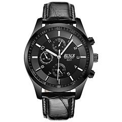 お買い得  メンズ腕時計-BOSCK 男性用 リストウォッチ クォーツ 30 m 耐水 新デザイン 夜光計 レザー バンド ハンズ ぜいたく ファッション ブラック - ホワイト ブラック レッド