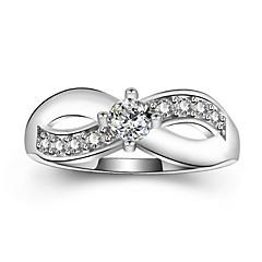 preiswerte Ringe-Damen Kubikzirkonia Stapel Übergang Ring Verlobungsring - Platiert Romantisch, Elegant 5 / 6 / 7 / 8 / 9 Weiß Für Party Verlobung