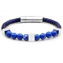 preiswerte Armbänder-Herrn Glasperlen Strang-Armbänder / Armband - Rostfrei Modisch Armbänder Grau / Braun / Blau Für Party / Zeremonie