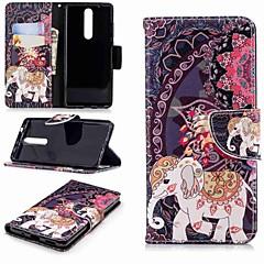 Недорогие Чехлы и кейсы для Nokia-Кейс для Назначение Nokia Nokia 5.1 / Nokia 3.1 Кошелек / Бумажник для карт / со стендом Чехол Слон Твердый Кожа PU для Nokia 5 / Nokia 3 / Nokia 2.1