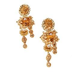 preiswerte Ohrringe-1 Paar Damen Retro Lang Kreolen Ohrringe baumeln - Blume Erklärung damas Barock Europäisch Schmuck Gold Für Zeremonie Party