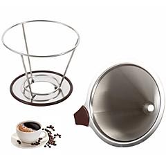 abordables Accesorios para café-Portafiltros de café reutilizable filtro de café de goteo de acero inoxidable embudo de malla de metal café filtro de té herramientas cesta