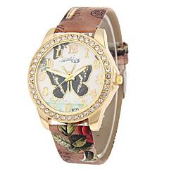 お買い得  レディース腕時計-女性用 リストウォッチ 中国 カジュアルウォッチ PU バンド 蝶型 / ファッション ブラック / 白 / ブルー