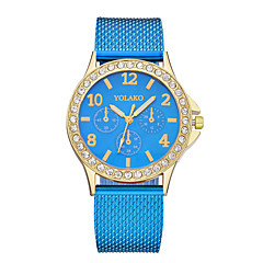preiswerte Damenuhren-Damen Armbanduhr Quartz Armbanduhren für den Alltag Plastic Band Analog Modisch Minimalistisch Schwarz / Weiß / Blau - Blau Rosa Champagner