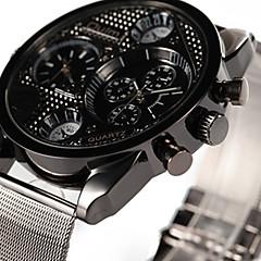 preiswerte Herrenuhren-Oulm Armbanduhr Sender Duale Zeitzonen, Armbanduhren für den Alltag Schwarz