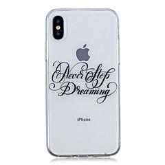 Недорогие Кейсы для iPhone X-Кейс для Назначение Apple iPhone X / iPhone 8 Plus Ультратонкий / Прозрачный / С узором Кейс на заднюю панель Слова / выражения Мягкий ТПУ для iPhone X / iPhone 8 Pluss / iPhone 8