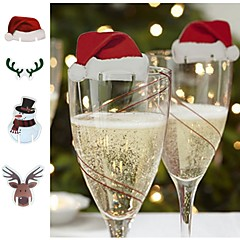 abordables Decoración del Hogar-navidad, vidrio, señal, bandera, navidad, sombrero, toothpick, bandera, comida, decoración, navidad, ornamentos