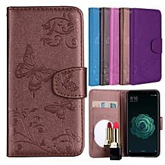 Недорогие Чехлы и кейсы для Xiaomi-Кейс для Назначение Xiaomi Mi 5X Бумажник для карт / со стендом / С узором Чехол Бабочка / Цветы Твердый Кожа PU для Xiaomi Mi 5X