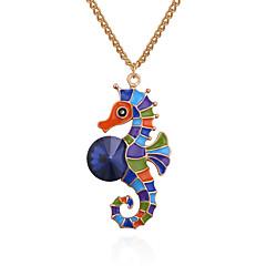 preiswerte Halsketten-Damen Stilvoll / Lang Charme - Kreativ, Hippocampus Zeichentrick, Hyperbel Anhänger Weiß / blau / Weiss - Grün / Weiß / Gelb Für Weihnachten / Geburtstag