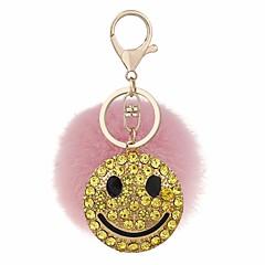preiswerte Schlüsselanhänger-Lächelndes Gesicht Schlüsselanhänger Grau / Blaugrün / Rosa Kreisform, Geometrische Form Zirkon, Kaninchen Haare, Aleación Süß, Modisch Für Alltag / Verabredung