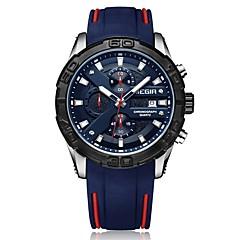 お買い得  メンズ腕時計-MEGIR スポーツウォッチ エミッタ 耐水, カレンダー, クロノグラフ付き ブラック / ブルー / 日本産 / 夜光計 / 日本産