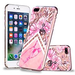 Недорогие Кейсы для iPhone 7 Plus-Кейс для Назначение Apple iPhone X / iPhone 8 Plus Прозрачный / С узором Кейс на заднюю панель Цветы / Мрамор Мягкий ТПУ для iPhone X / iPhone 8 Pluss / iPhone 8