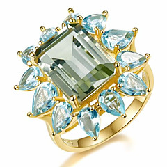 preiswerte Ringe-Damen Klassisch 3D Bandring Verlobungsring - Kupfer, Strass, vergoldet Blume Einfach, Klassisch 7 / 8 Gold Für Party Alltag / Glas